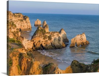 Portugal, Algarve, Alvor, Prainha Overview At Sunset
