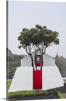 Portugal, Azores, Pico Island, Lajes do Pico, harborfront building