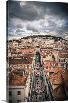 Portugal, Lisbon, Baixa District with Sao Jorge Castle and Alfama District beyond
