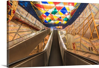 Portugal, Lisbon, Escalators And The Colorful Decorations At Olaias Subway Station