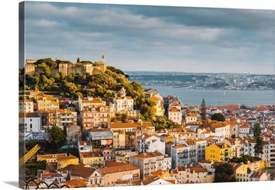 Portugal, Lisbon, Skyline And Sao Jorge Castle
