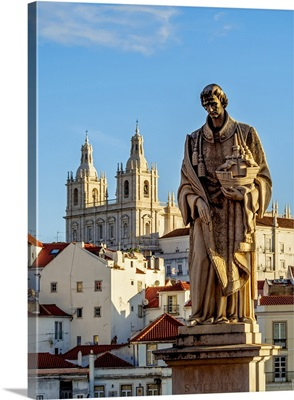 Portugal, Lisbon, Statue of Sao Vicente and the Monastery of Sao Vicente de Fora