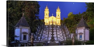 Portugal, Minho province, Braga, Bom Jesus do Monte at night
