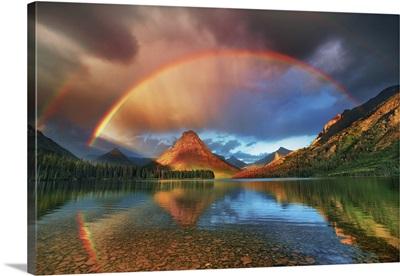 Rainbow At Two Medicine Lake With Sinopah Mountain, USA, Montana, Glacier National Park