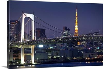 Rainbow bridge and Tokyo Bay from Odaiba, Tokyo, Japan