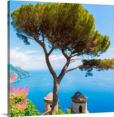 Ravello, Amalfi Coast, Sorrento, Italy. View of the coastline from Villa Rufolo