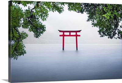 Red torii gate at lake Ashinoko, Hakone, Kanagawa Prefecture, Honshu, Japan