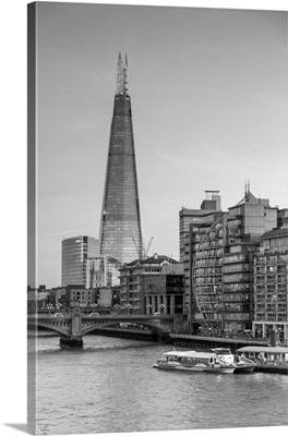 River Thames, Southwark Bridge And The Shard, London, England, UK