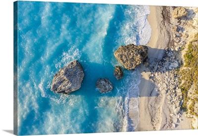 Rocks On Megali Petra Beach, Lefkada, Ionian Islands Region, Greece