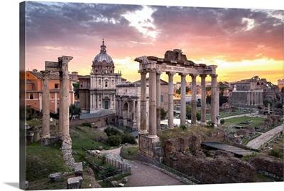 Roman Forum at sunrise, Rome, Lazio, Italy