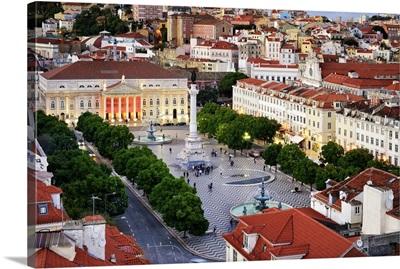 Rossio square, the heart of the historic centre at twilight. Lisbon, Portugal