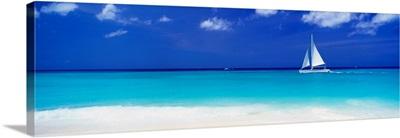 Sailboat Off Manchebo Beach, Aruba, Lesser Antilles, Caribbean