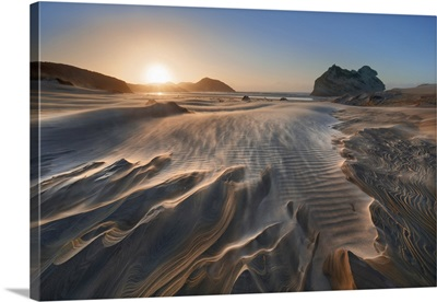 Sand Beach At Storm At Wharariki Beach, New Zealand, South Island, Golden Bay, Puponga