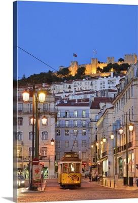 Sao Jorge castle and Praca da Figueira at the historic centre of Lisbon. Portugal