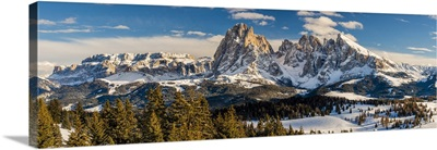 Scenic Winter View Over Seiser Alm, Langkofel Massif, Dolomites, South Tyrol, Italy