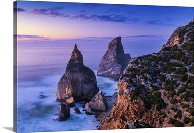 Sea Stacks At Sunset, Praia Da Ursa, Colares, Sintra, Portugal