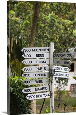 Seychelles, La Digue Island, La Passe, road signage