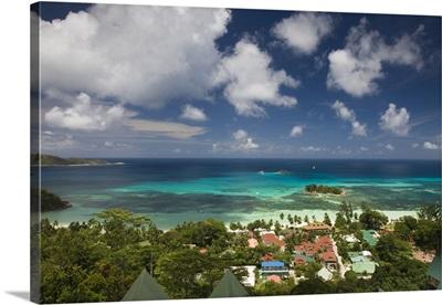 Seychelles, Praslin Island, Anse Volbert, aerial view of tourist village