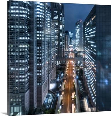 Shinjuku skyscraper district at night, Tokyo, Japan