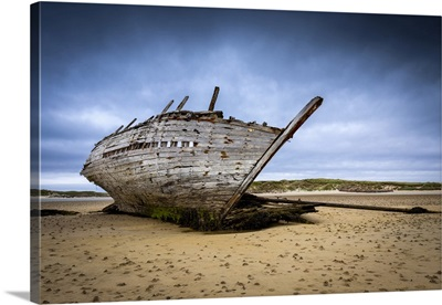Shipwreck At Low Tide On Magheraclogher Beach, Ireland