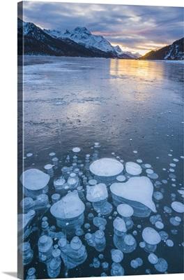 Silvaplana, Engadine valley, Switzerland, Frozen bubbles in the Lake Silvaplana