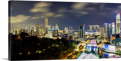 Singapore, Elevated view over Fort Canning Park and the modern City Skyline