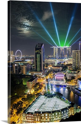 Singapore, Elevated view over the Entertainment district of Clarke Quay