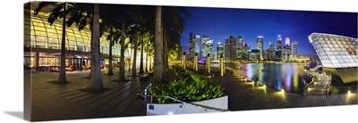Singapore, Marina Bay, City Skyline at night