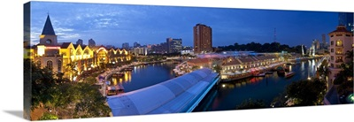 Singapore River, Clarke Quay, a new area of nightlife restaurants and bars, Singapore