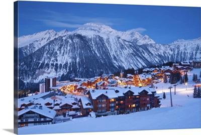Ski resort in Les Trois Vallees, Savoie, French Alps, France