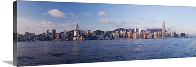 Skyline of Central, Hong Kong Island, from Victoria Harbour, Hong Kong, China, Asia
