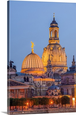 Skyline Of Dresden At Dusk With Bruehl's Terrace, Church Of Our Lady, Saxony, Germany