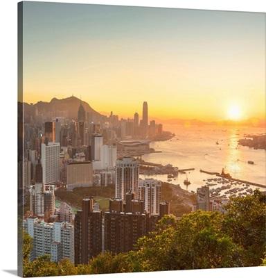 Skyline Of Hong Kong Island And Kowloon At Sunset, Hong Kong