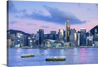Skyline Of Wan Chai On Hong Kong Island At Sunset, Hong Kong