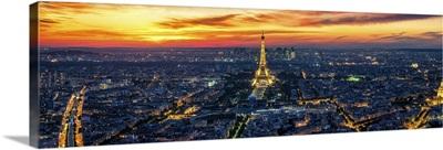 Skyline view of Paris at sunset, Paris, France