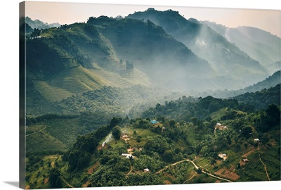 Small village in a mountain valley of Uganda, Bwindi Impenetrable Forest