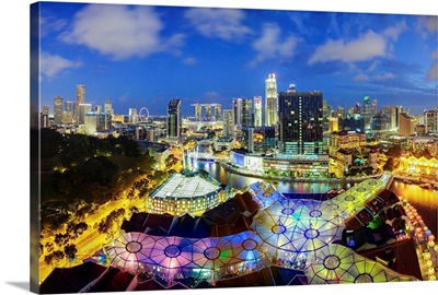South East Asia, Singapore, Elevated view of the skyline