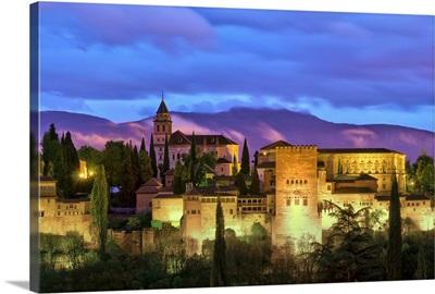 Spain, Andalucia, Granada, Alhambra from Sacromonte Hill
