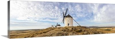 Spain, Castile La Mancha, Consuegra. Famous windmills