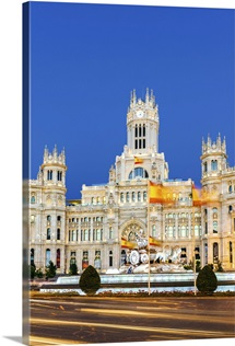 Spain, Madrid. Plaza de Cibeles with famous fountain and town hall building behind