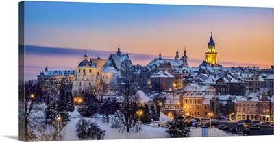 St John The Baptist Cathedral And Trinitarian Tower At Dusk, Winter, Lublin, Poland