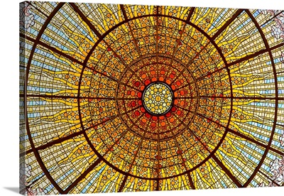 Stained-Glass Skylight, Palace Of Catalan Music Concert Hall, Barcelona, Spain