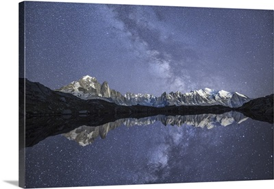 Starry sky over Mont Blanc range seen from Lac de Chesery. Haute Savoie. France
