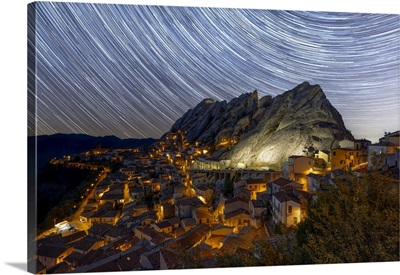 Startrails, Captured During A Summer Night In Pietrapertosa, Potenza Province, Italy