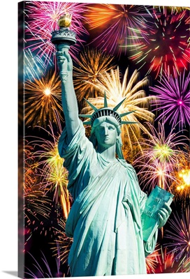 Statue of Liberty and fireworks during the Fourth of July celebration, New York City