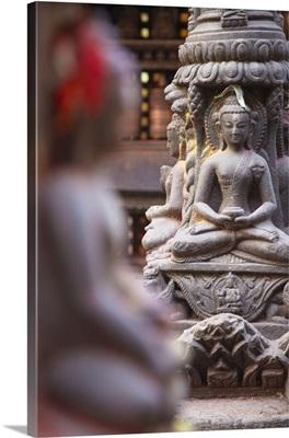 Statues at Swayambhunath Stupa, Kathmandu, Nepal