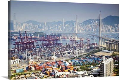 Stonecutters Bridge and container port, Hong Kong