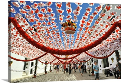 Streets decorated with paper flowers, Campo Maior, Portugal