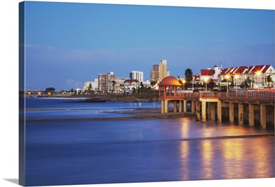 Summerstrand beachfront at dusk, Port Elizabeth, Eastern Cape, South Africa