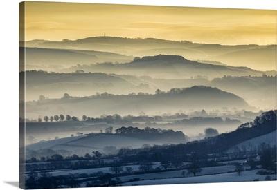Sunrise From Lambert's Castle, Marshwood Vale Towards Hardy's Monument, Dorset, England